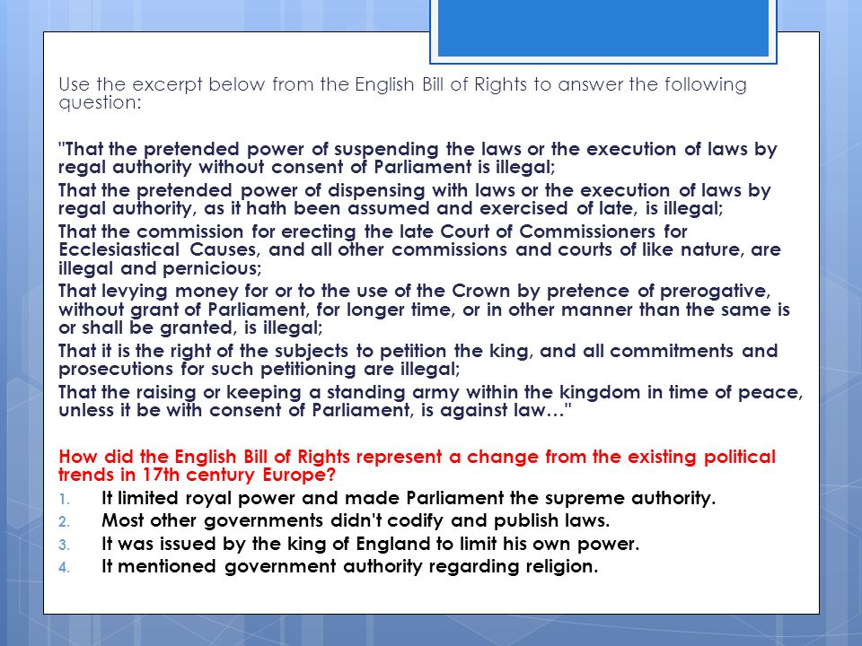 Use the excerpt below from the English Bill of Rights to answer the following question: