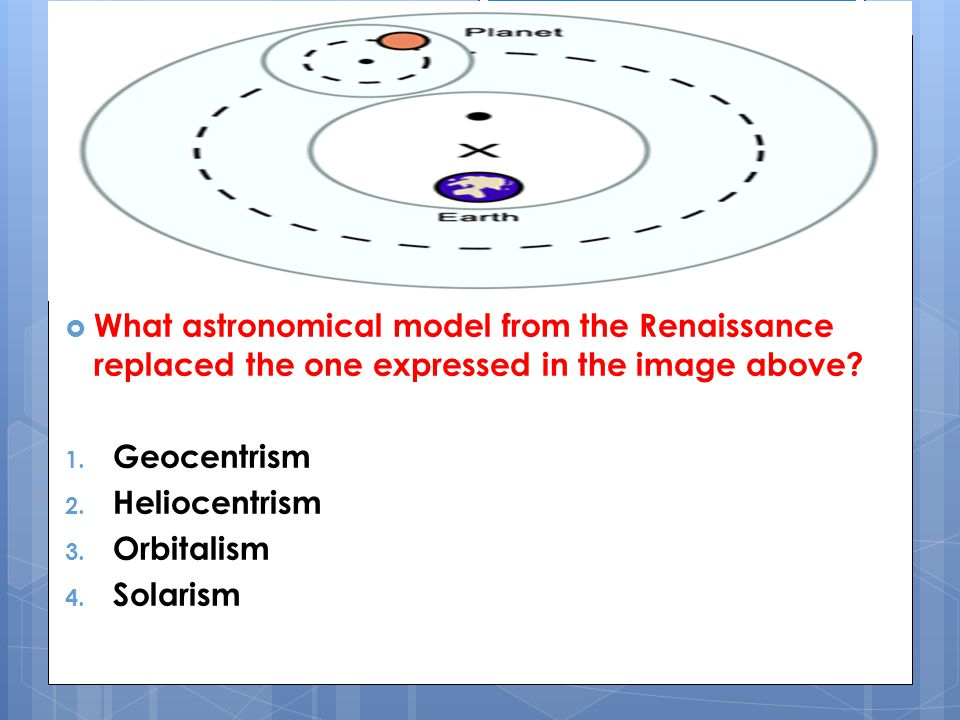 What astronomical model from the Renaissance replaced the one expressed in the image above