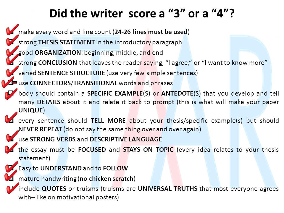 Did the writer score a 3 or a 4