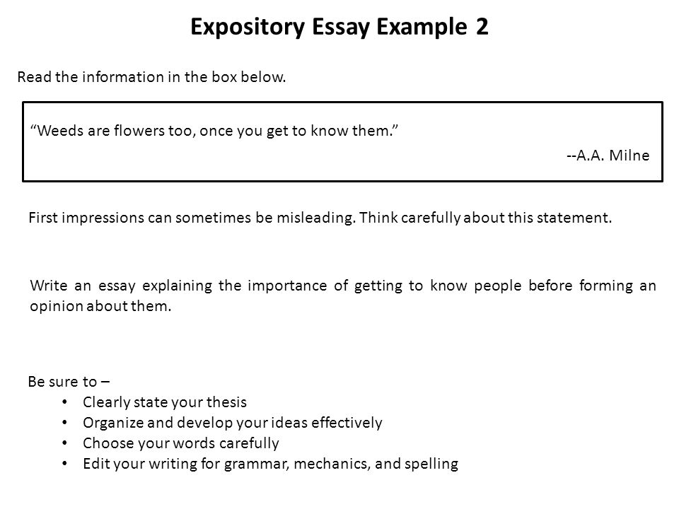 expository essay leads If you are obese you can develop a lot of health problems such as high blood pressure and clogged arteries which can lead to strokes, blood clots and heart attacks an expository essay is a piece of writing where the writer expository essays include those written for exams or for.