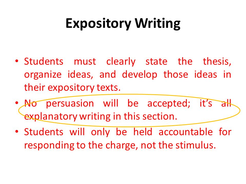 Expository Writing Students must clearly state the thesis, organize ideas, and develop those ideas in their expository texts.