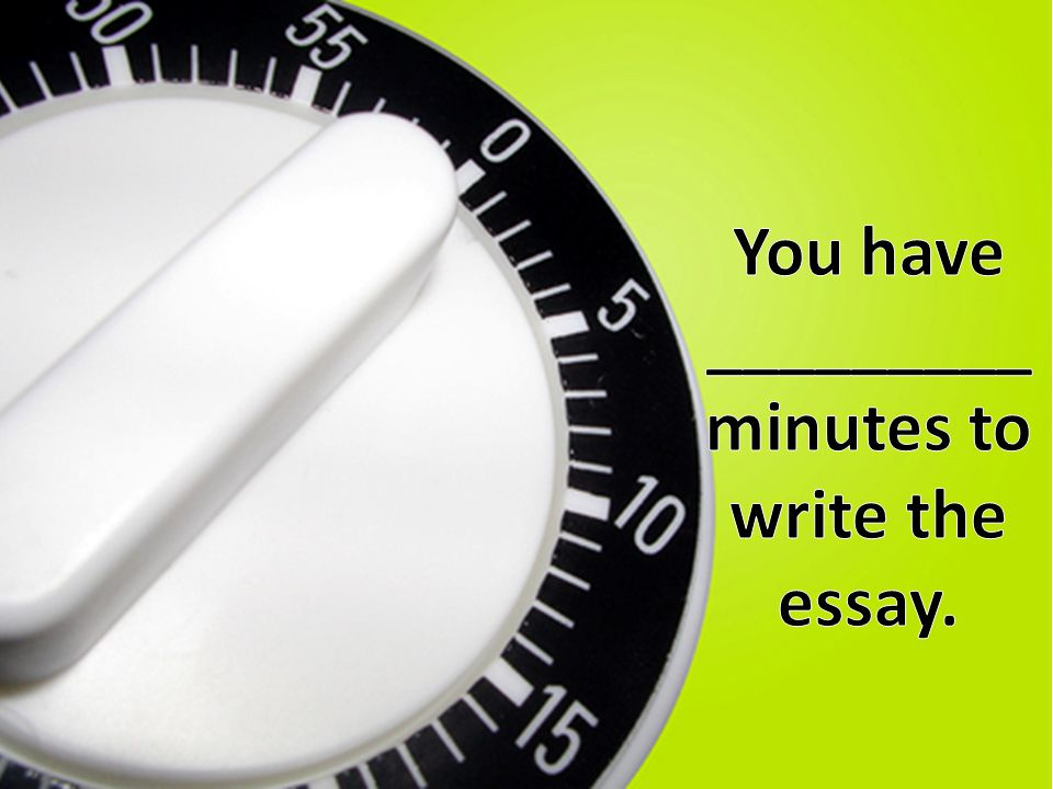 You have _________ minutes to write the essay.