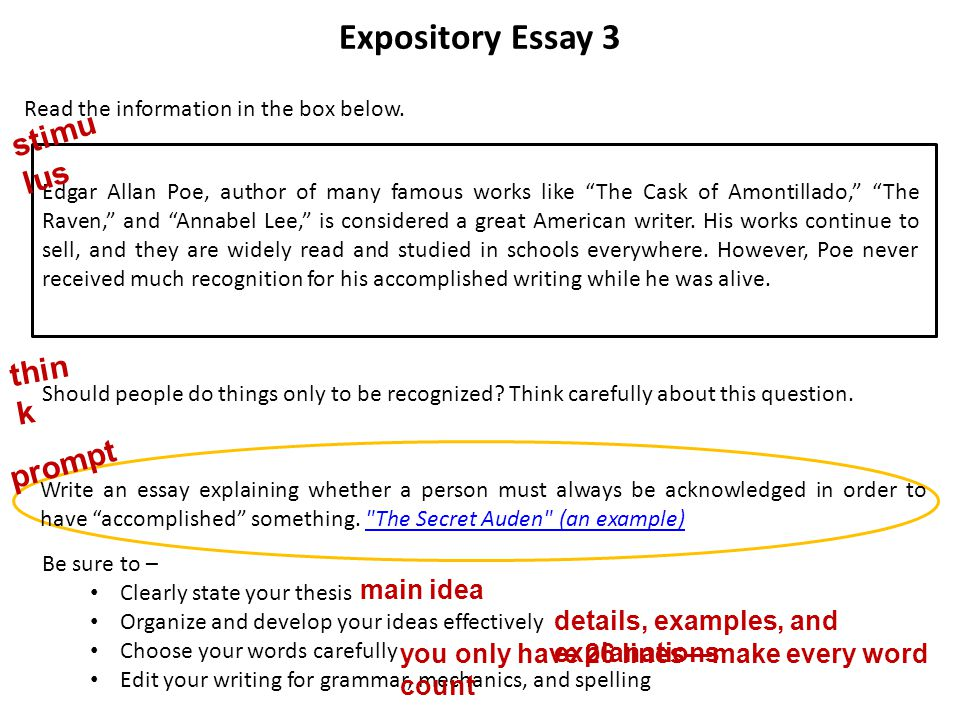 a word from the state a word from the state ppt video online  expository essay 3 stimulus think prompt main idea