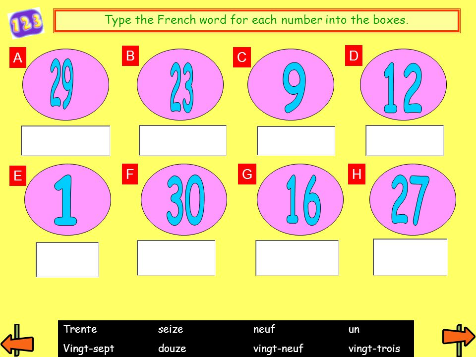 Type the French word for each number into the boxes.
