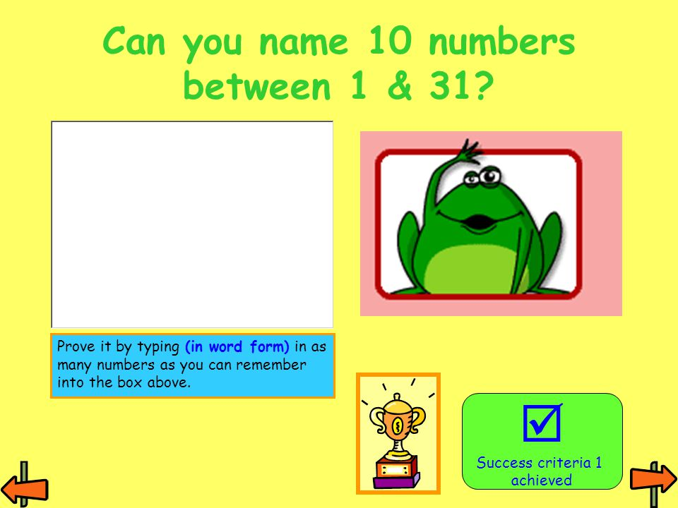 Can you name 10 numbers between 1 & 31