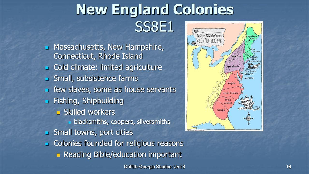 New England Colonies SS8E1