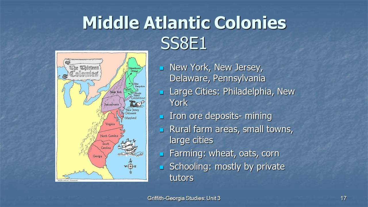 Middle Atlantic Colonies SS8E1