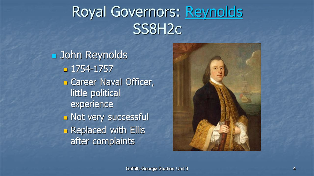 Royal Governors: Reynolds SS8H2c