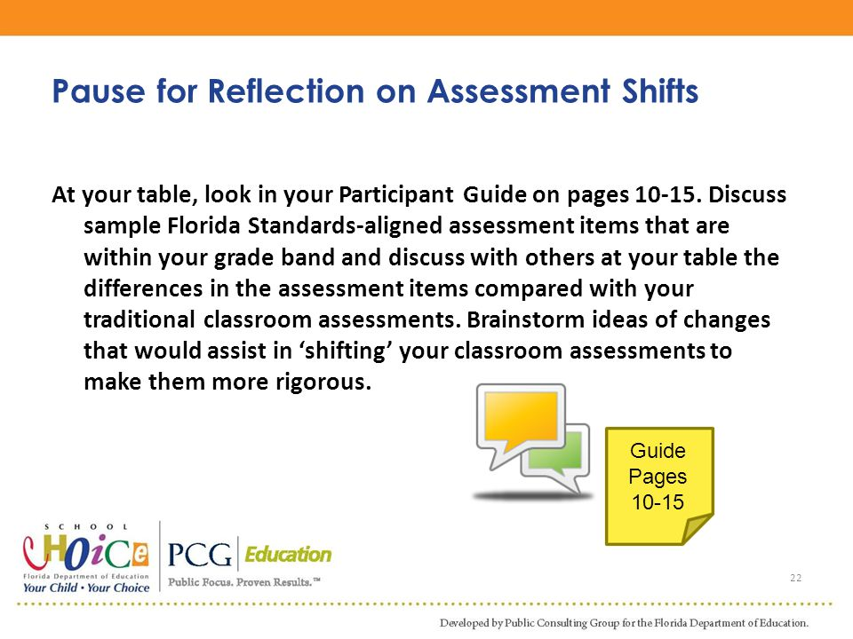 Pause for Reflection on Assessment Shifts