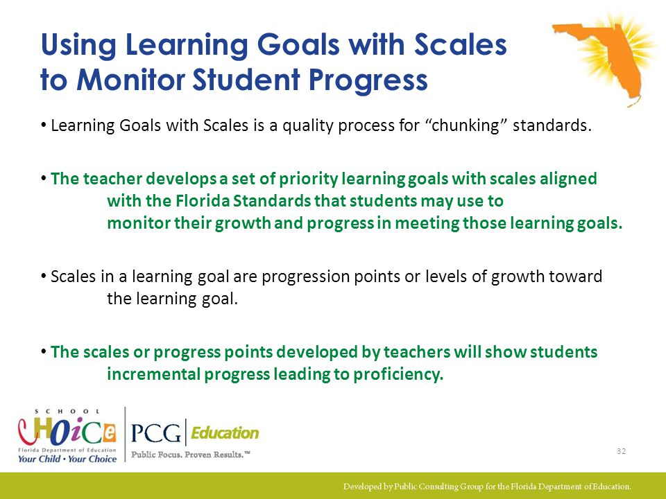 Using Learning Goals with Scales to Monitor Student Progress