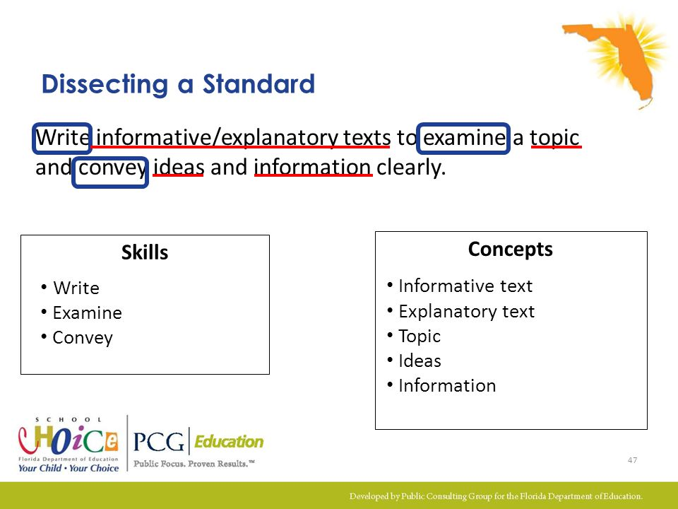 Dissecting a Standard Write informative/explanatory texts to examine a topic and convey ideas and information clearly.