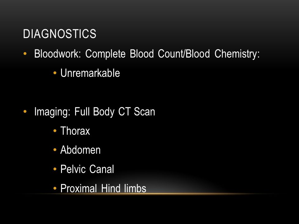 Diagnostics Bloodwork: Complete Blood Count/Blood Chemistry:
