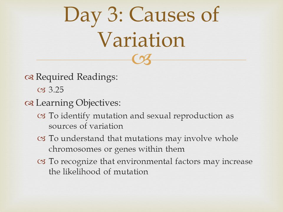 Day 3: Causes of Variation