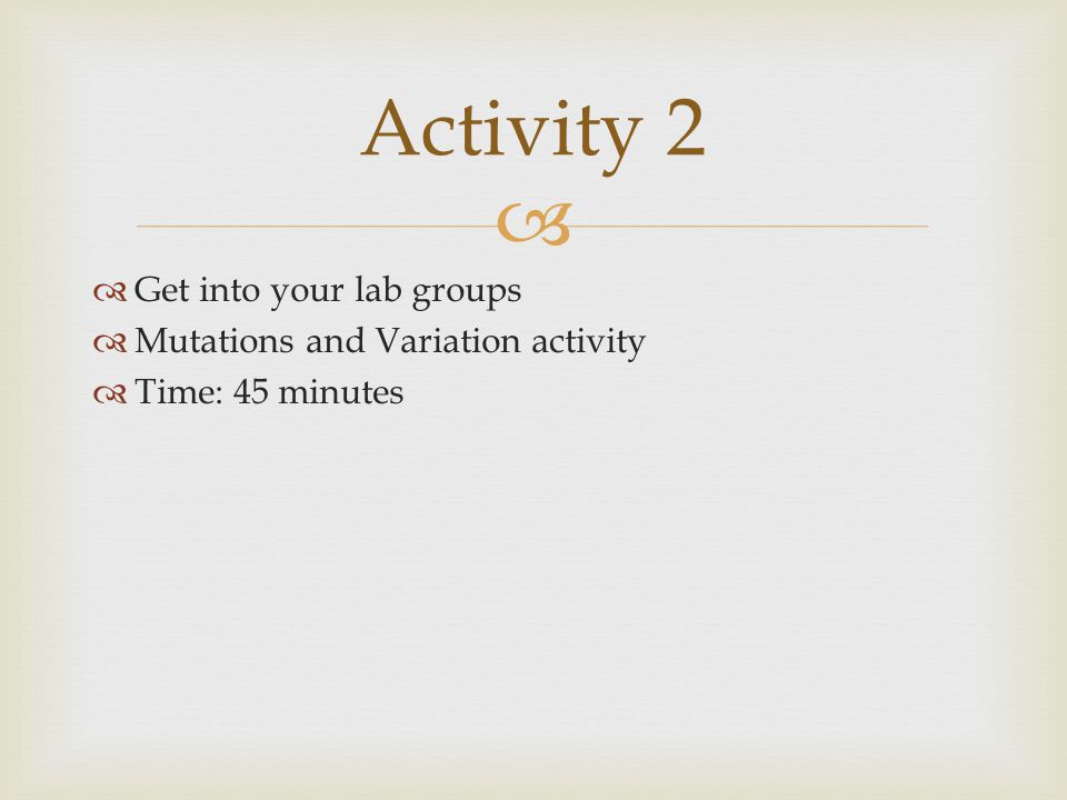 Activity 2 Get into your lab groups Mutations and Variation activity