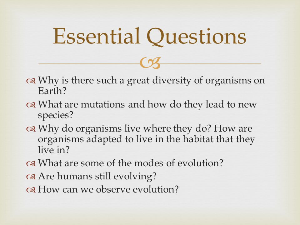 Essential Questions Why is there such a great diversity of organisms on Earth What are mutations and how do they lead to new species