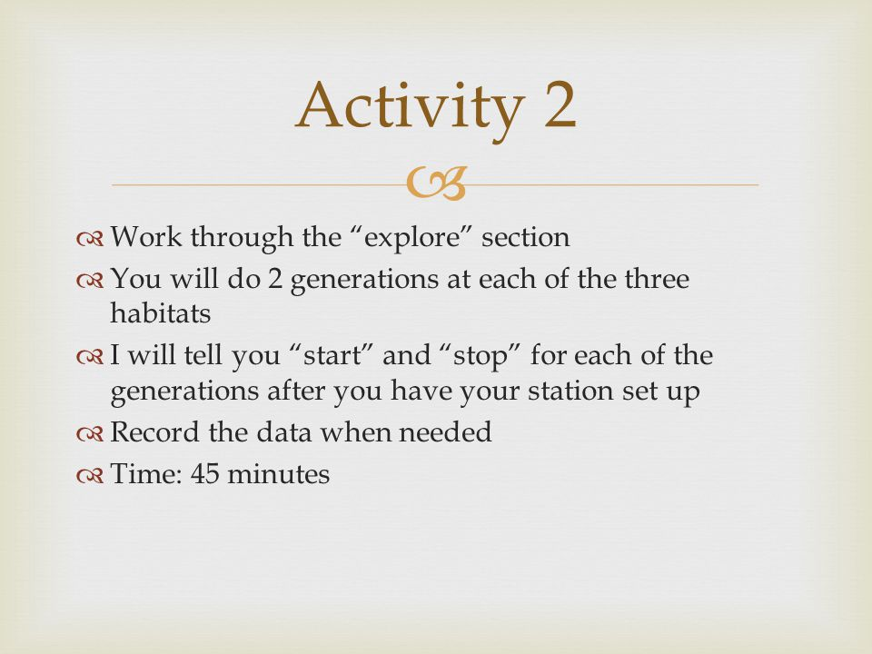 Activity 2 Work through the explore section