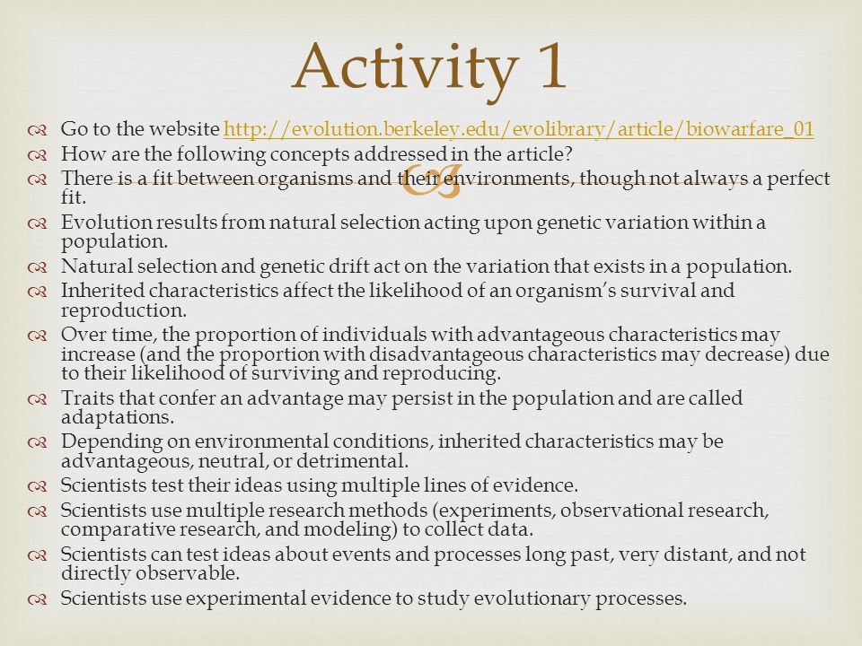 Activity 1 Go to the website http://evolution.berkeley.edu/evolibrary/article/biowarfare_01.