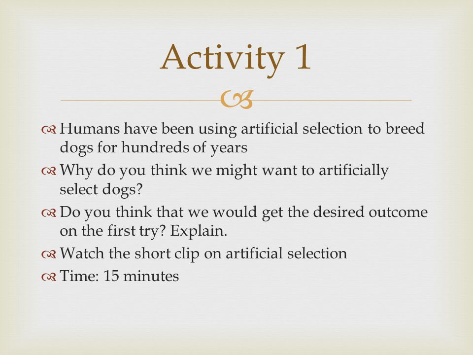 Activity 1 Humans have been using artificial selection to breed dogs for hundreds of years.