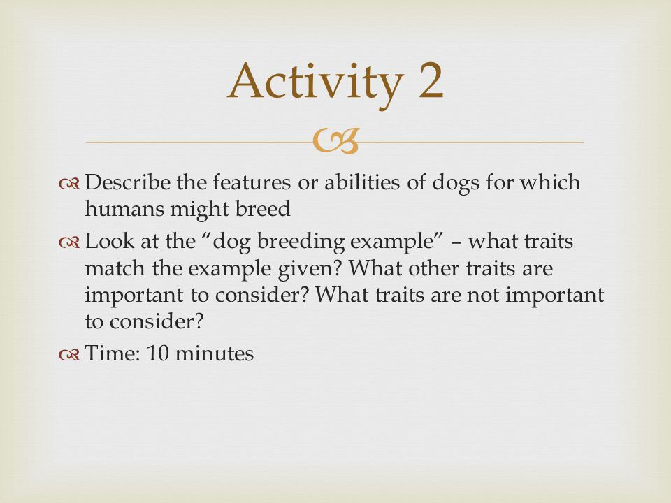Activity 2 Describe the features or abilities of dogs for which humans might breed.