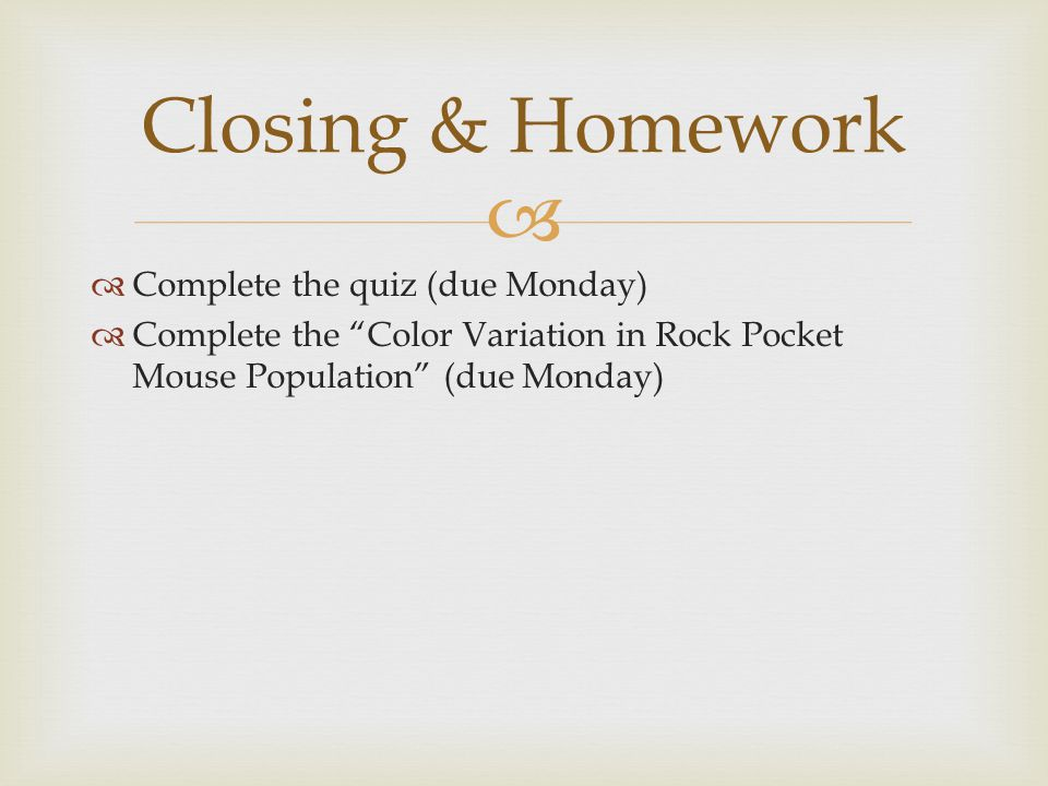 Closing & Homework Complete the quiz (due Monday)