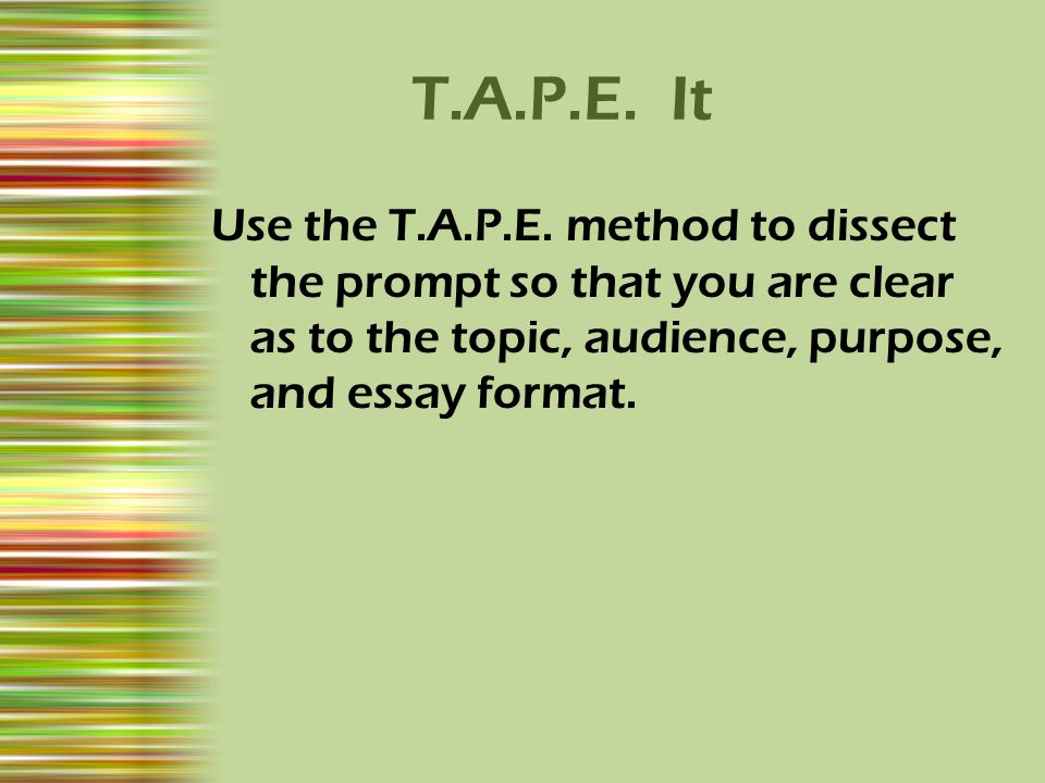 T.A.P.E. It Use the T.A.P.E.