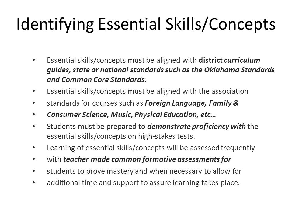 Identifying Essential Skills/Concepts