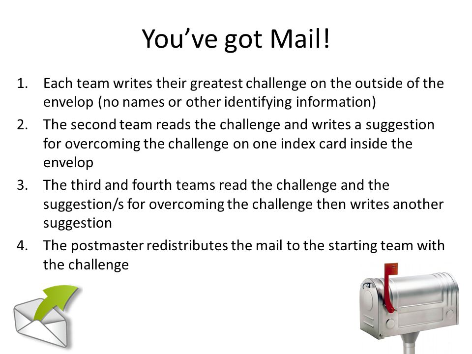 You've got Mail! Each team writes their greatest challenge on the outside of the envelop (no names or other identifying information)