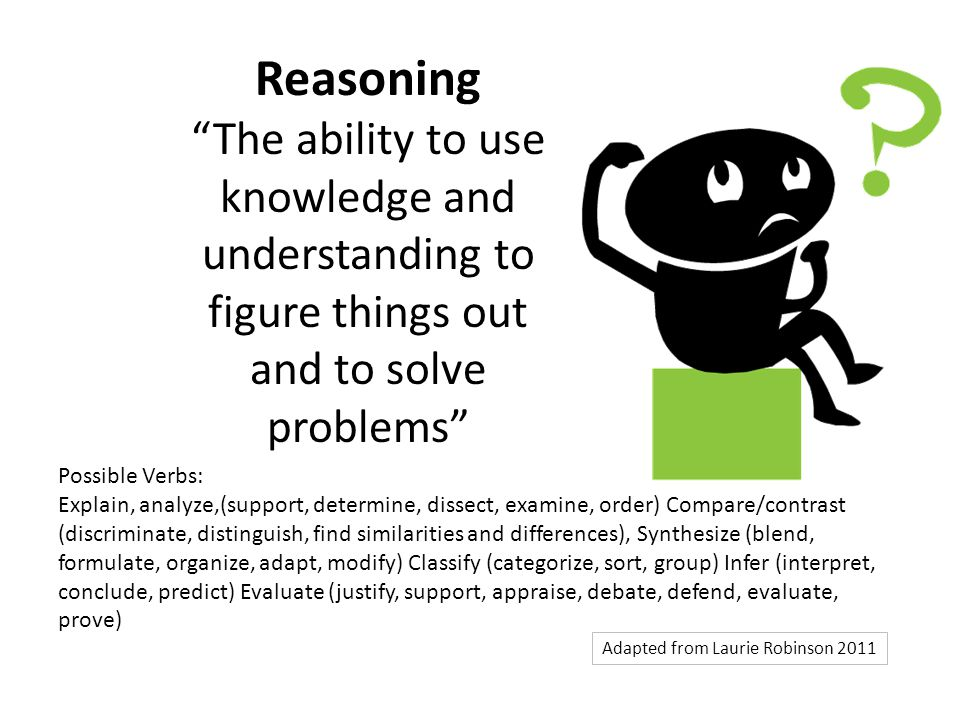 Reasoning The ability to use knowledge and understanding to