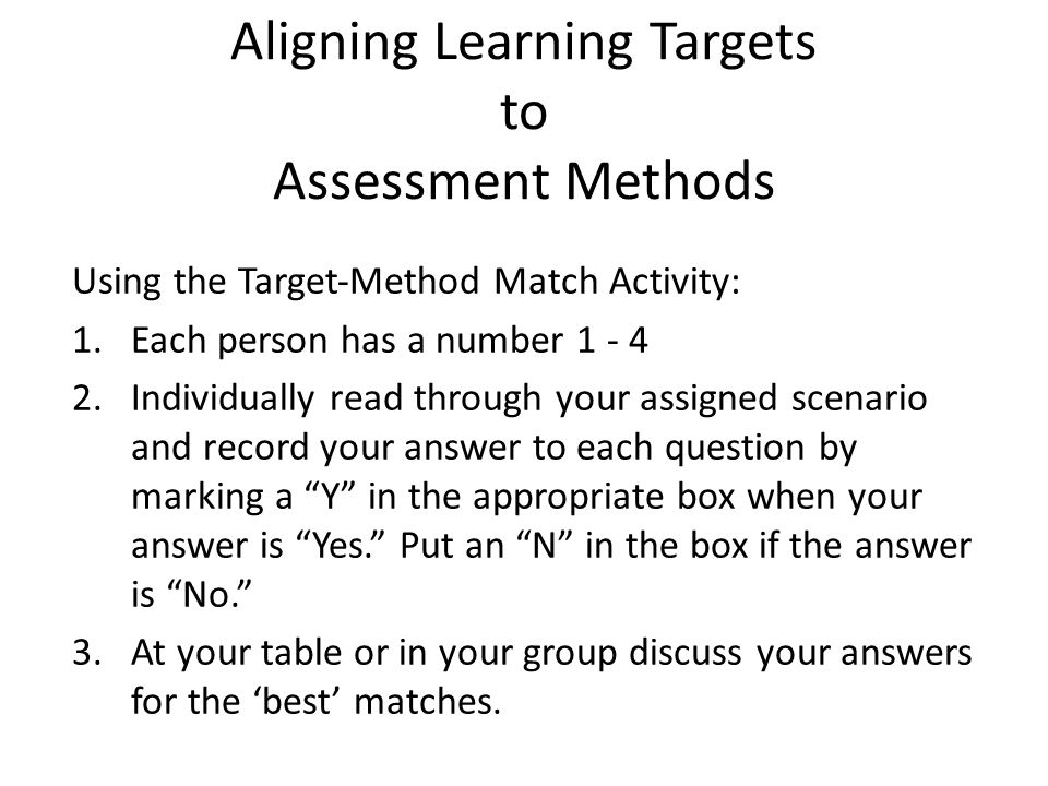Aligning Learning Targets to Assessment Methods