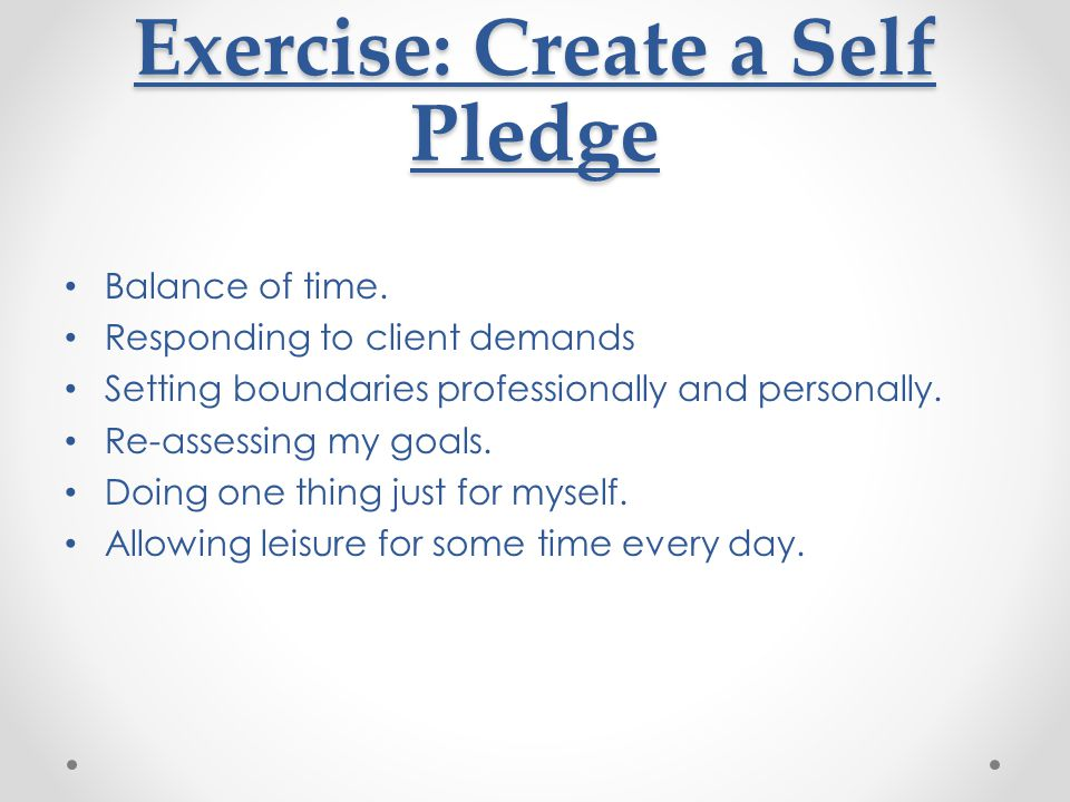 Exercise: Create a Self Pledge
