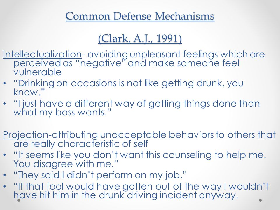 Common Defense Mechanisms (Clark, A.J., 1991)