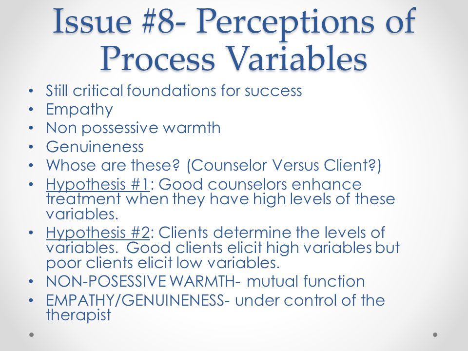 Issue #8- Perceptions of Process Variables