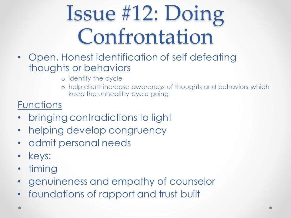 Issue #12: Doing Confrontation