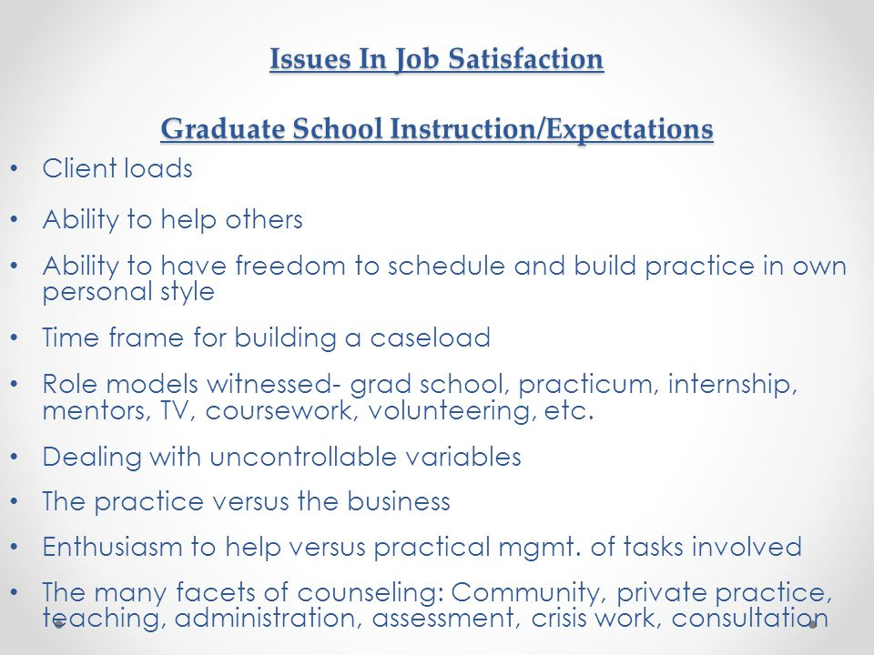 Issues In Job Satisfaction Graduate School Instruction/Expectations