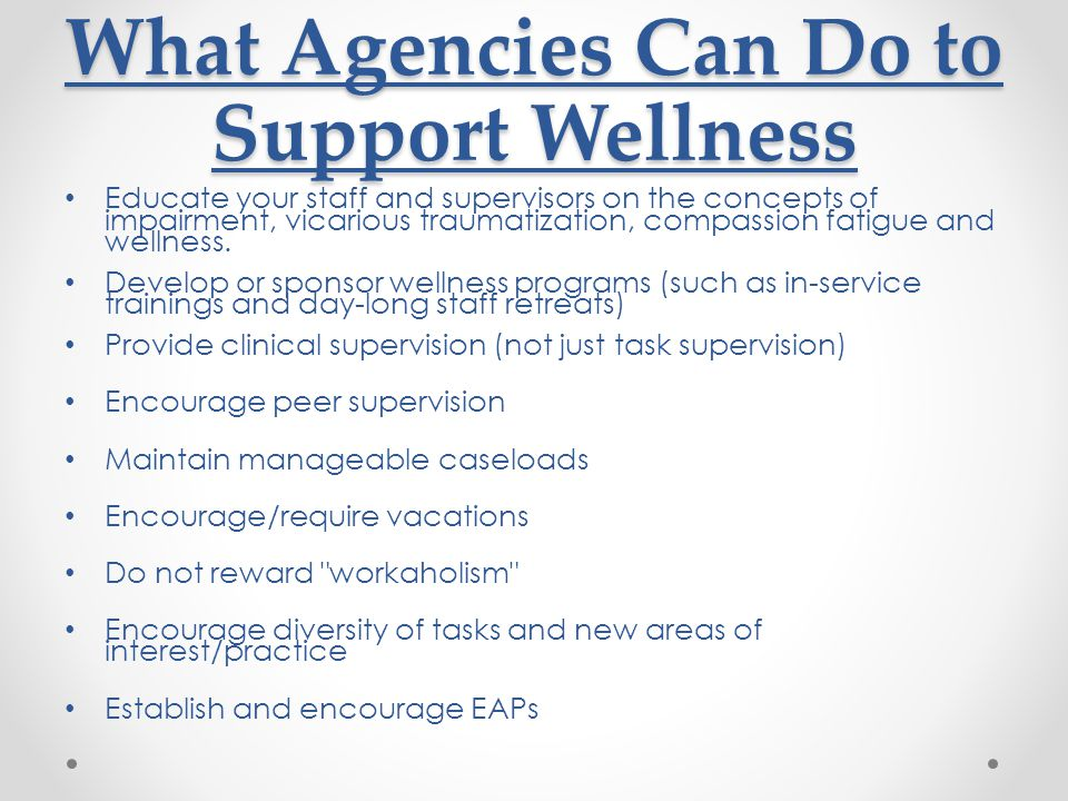 What Agencies Can Do to Support Wellness