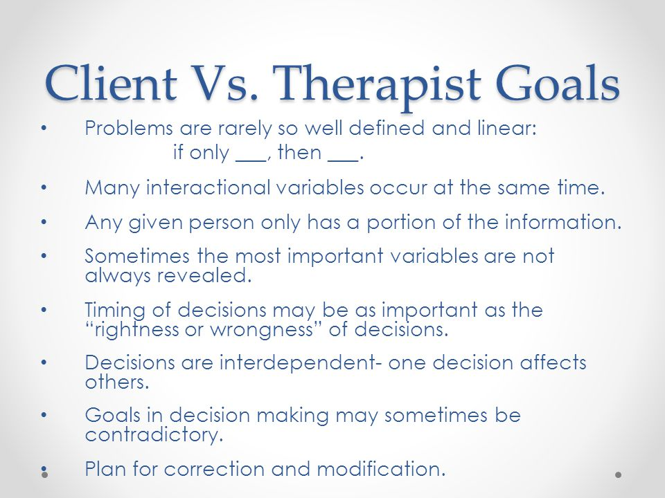 Client Vs. Therapist Goals