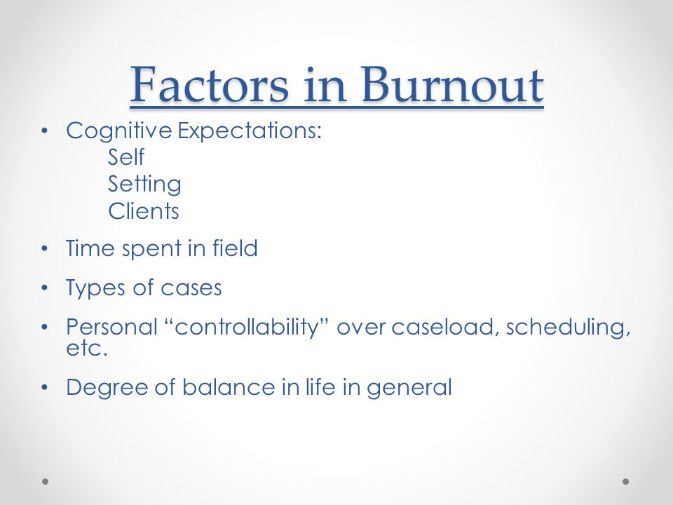 Factors in Burnout Cognitive Expectations: Self Setting Clients