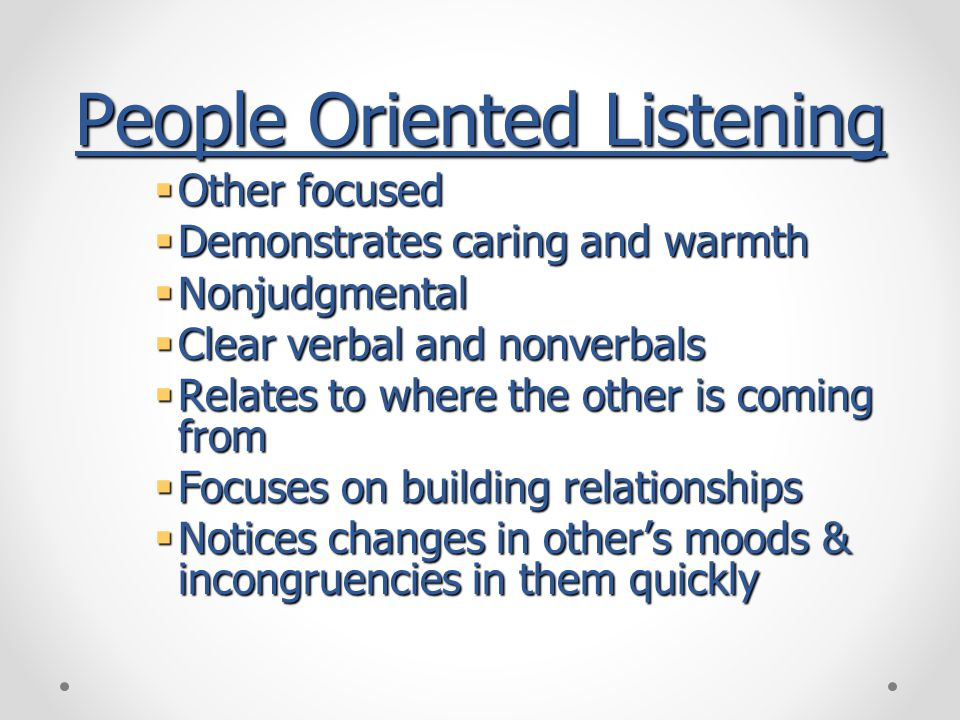People Oriented Listening