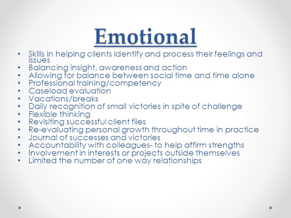 Emotional Skills in helping clients identify and process their feelings and issues. Balancing insight, awareness and action.