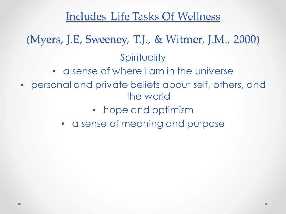 Includes Life Tasks Of Wellness (Myers, J. E, Sweeney, T. J