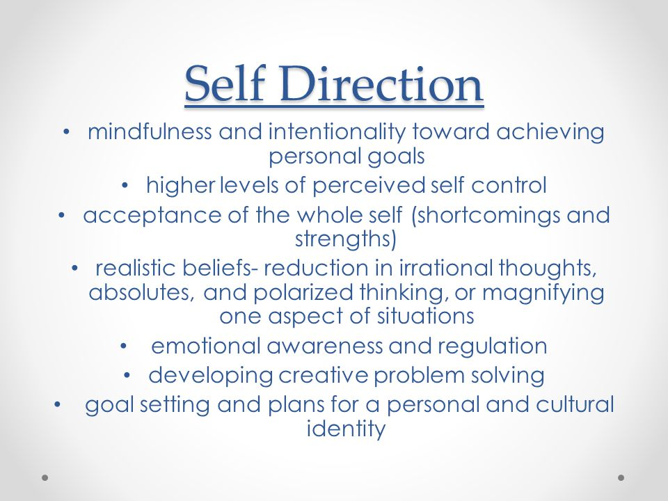 Self Direction mindfulness and intentionality toward achieving personal goals. higher levels of perceived self control.