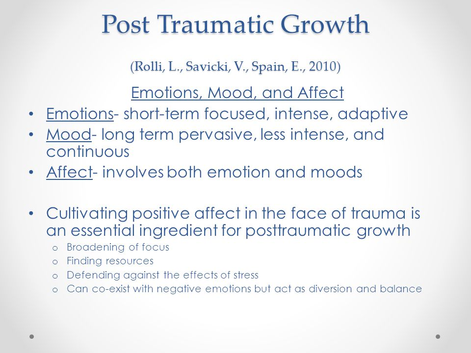 Post Traumatic Growth (Rolli, L., Savicki, V., Spain, E., 2010)