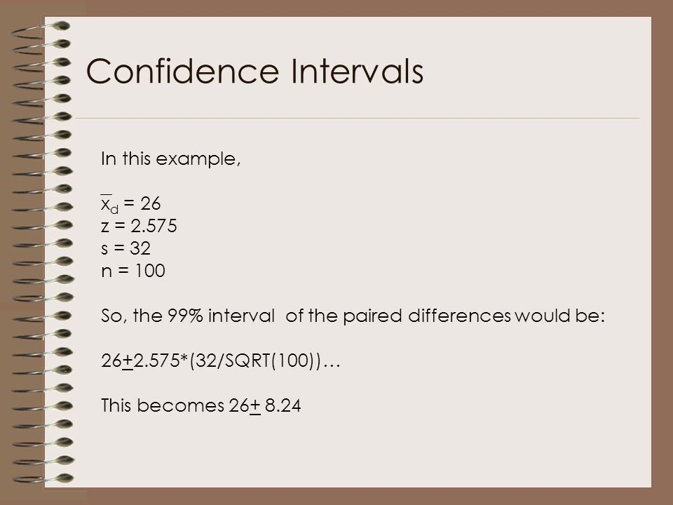 Confidence Intervals In this example, xd = 26 z = 2.575 s = 32 n = 100