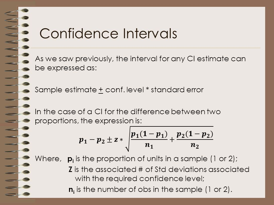 Confidence Intervals As we saw previously, the interval for any CI estimate can be expressed as: Sample estimate + conf. level * standard error.