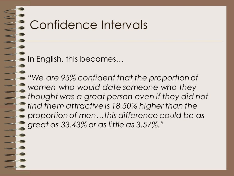 Confidence Intervals In English, this becomes…
