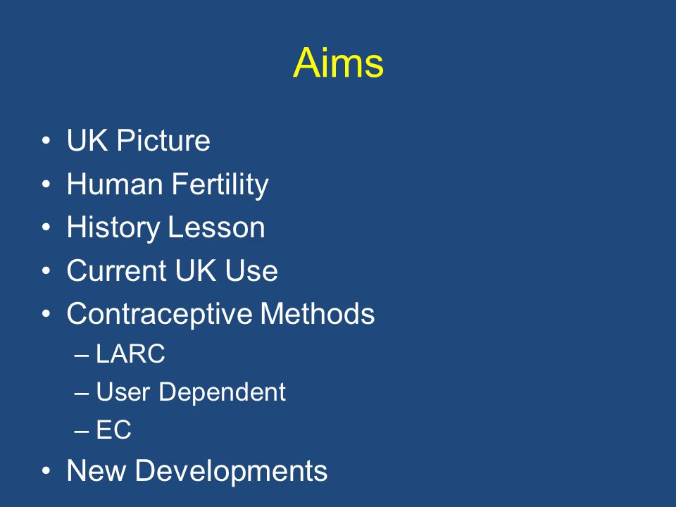Aims UK Picture Human Fertility History Lesson Current UK Use