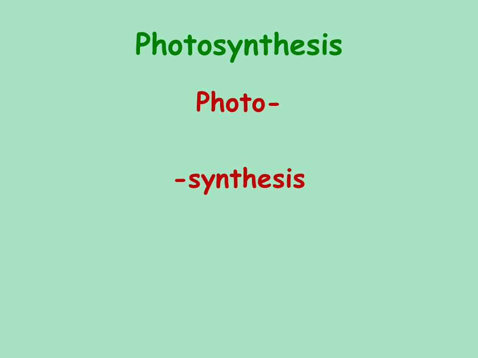 Photosynthesis Photo- -synthesis