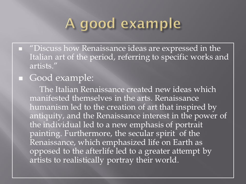 essay questions on the italian renaissance View homework help - renaissance mid-term essay questions(1) from arts  150 at texas a&m  livia stoenescu for mid-term exam below are two essay  topics  art history italian renaissance texas a&m arts 150 - spring 2013.