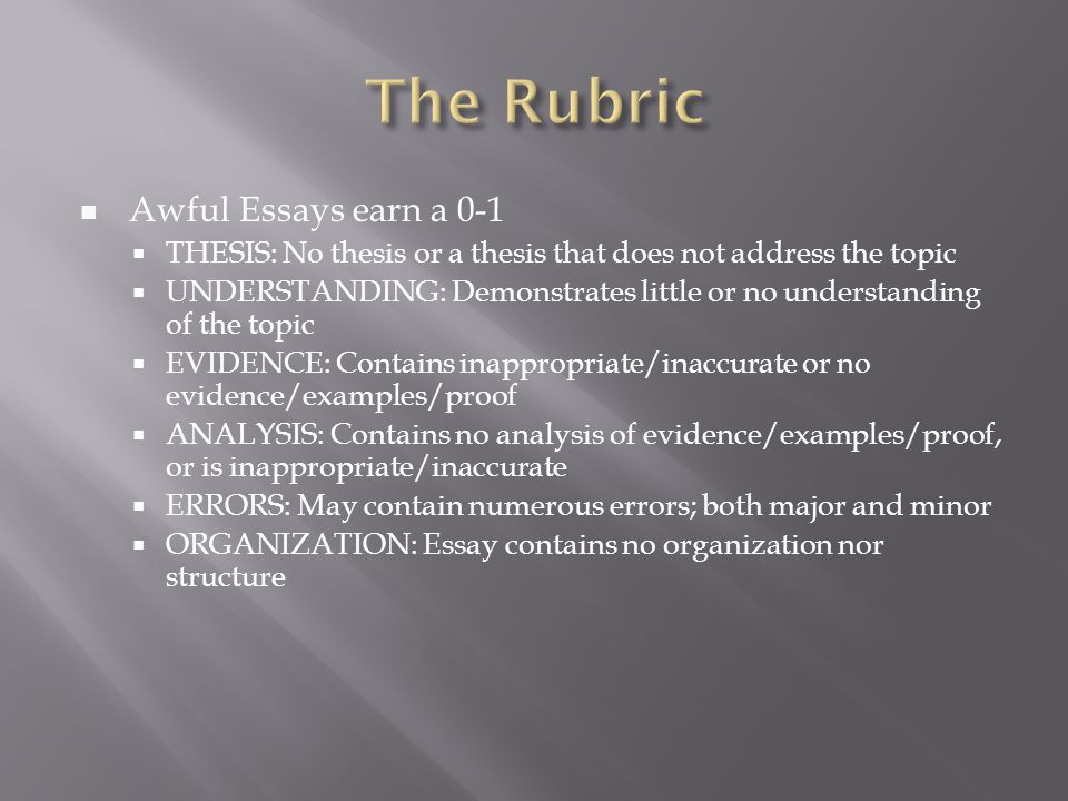 The Rubric Awful Essays earn a 0-1