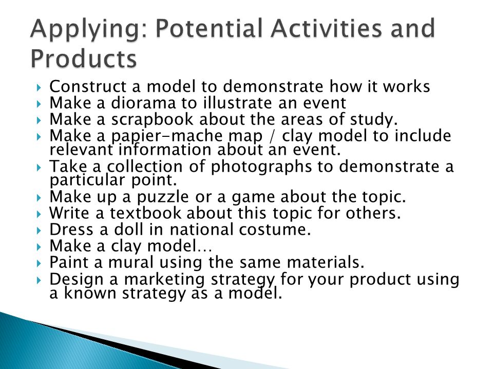 Applying: Potential Activities and Products